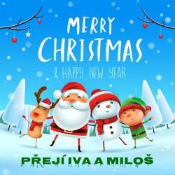 Vánoce - Merry Christmas (modrá)