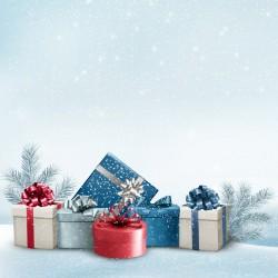 Vánoce - dárky a stříbrné větvičky