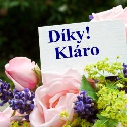 Růže + fialové květy s kartičkou s věnováním
