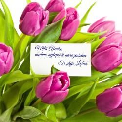 Tulipány + kartička s věnováním