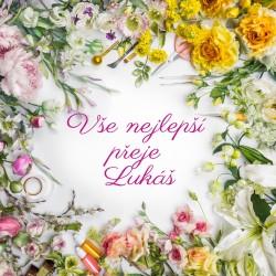 Žluté a růžové květy - rámeček