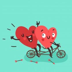 Valentýn - dvě srdce na kole